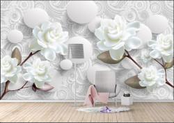 Fototapet 3D, Trandafiri albi și sfere albe