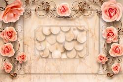 Fototapet 3D, Trandafiri roz cu ornamente pe fundal bej