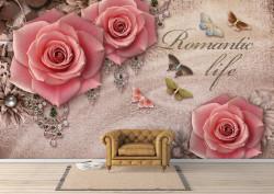 Fototapet 3D, Trandafiri roz pe un fundal bej