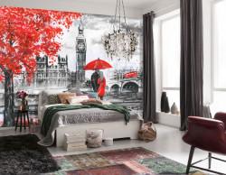 Fototapet, Acuarelă Paris în culori roșu-gri