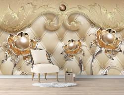 Fototapet Fantezie, Flori aurii pe un fond de aur cu ornamente