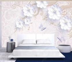 Fototapet, Flori albe cu ornamente