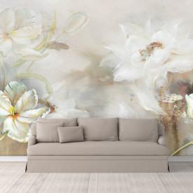 Fototapet, Flori albe pe fundal gri