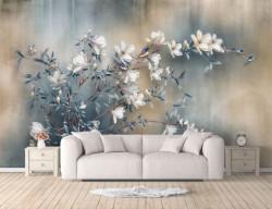 Fototapet, Flori albe pe o ramură și un fundal albastru