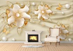 Fototapet, Flori de aur pe un fundal de mătase bej