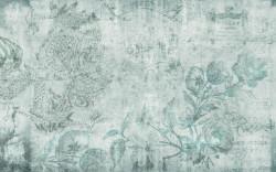 Fototapet, Flori pe un fundal albastru în stil grunge