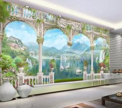 Fototapet Fresco, Vedere frumoasă a peisajului montan de la fereastră