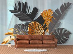 Fototapet, Frunze aurii și gri pe un fundal cenușiu abstract