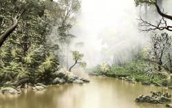Fototapet, Lacul de-a lungul unei păduri