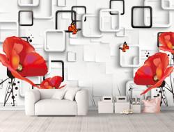 Fototapet, Maci roșii pe un fundal abstract cenușiu