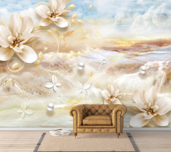 Fototapet, Magnolii bej pe un fundal delicat de marmură