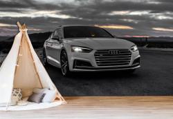 Fototapet, Mașina albă de lux la apus