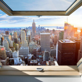 Fototapet, O fereastră cu Priveliște la aglomerația orașului