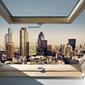 Fototapet, O fereastră cu Priveliște la un oraș mare