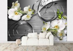 Fototapet, Orhidee albe pe un fundal gri