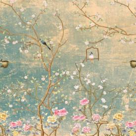 Fototapet, Păsări pe ramurile unui copac de primăvară