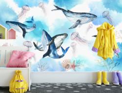 Fototapet Pentru Copii, Balene în mare