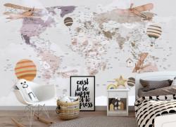 Fototapet Pentru Copii, Harta lumii cu avioane