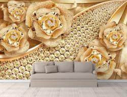 Fototapet, Trandafiri de aur pe un fundal auriu cu pietre