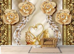 Fototapet, Trandafiri și lebede aurii