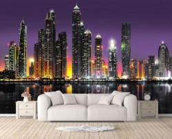Fototapet, Vedere nocturnă spre orașul Dubai