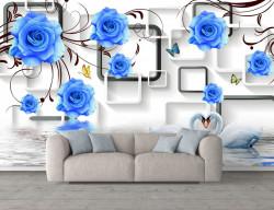 Fototapete 3D, Flori albastre pe un fundal 3D alb
