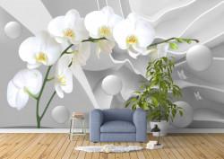 Fototapete 3D, O orhidee albă pe un fundal alb 3d.