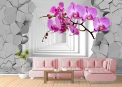 Fototapete 3D, Orhidei violete pe fundalul unui perete spart ce duce spre un tunel