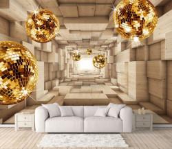 Fototapete 3D, Tunel din cuburi din lemn și bile strălucitoare