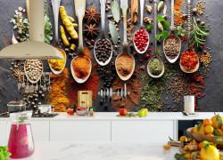 Fototapete Alimente și băuturi, Condimente în linguri