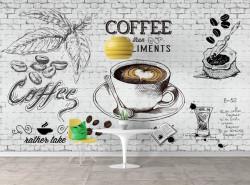 Fototapete Alimente și băuturi, Un pahar desenat cu cafea pe un perete de o cărămidă albă