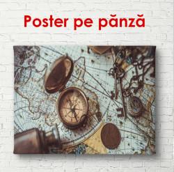 Poster, Busola pe o hartă albastră