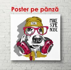 Poster, Câine elegant, cu căști, ochelari și o pălărie pe cap