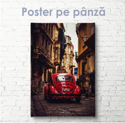 Poster, Mașină roșie în orașul vechi