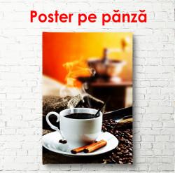 Poster, Paharul alb cu cafea fierbinte pe un fundal portocaliu