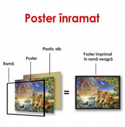 Poster, Pui de leu și alte animale la safari