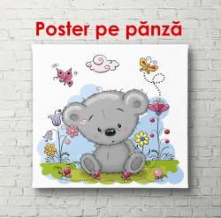 Poster, Ursulețul Teddy stă în tufișuri