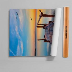 Stickere 3D pentru uși, apus de soare la mare, 1 foaie de 80 x 200 cm
