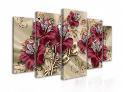 Tablou modular, Bijuterii burgundă pe mătase
