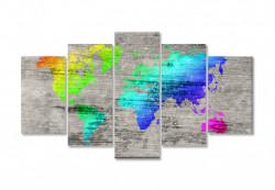 Tablou modular, Harta colorată a lumii pe fundal gri