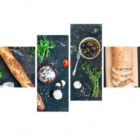 Tablou modular, Mâncare pe un fundal negru