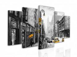 Tablou modular, Mașini galbene într-un oraș alb-negru