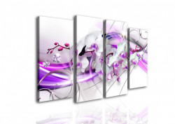 Tablou modular, Orhidee albă și dungi lila
