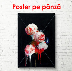 Tablou, Trandafiri roz pal pe un fundal de grafit