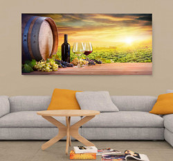 Tablouri Canvas, Sticla de vin la apusul soarelui