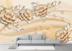 Fototapet 3D, Flori delicate de culoare bej