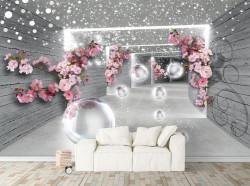 Fototapet 3D, Flori roz pe un fundal gri