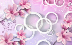 Fototapet 3D, Flori și cercuri pe fundal alb