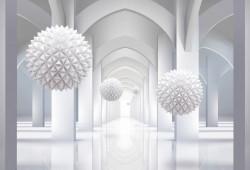 Fototapet 3D, Sfere albe ce plutesc în aer pe un fundal 3D
