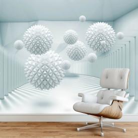Fototapet 3D, Sfere albe ce plutesc în aer